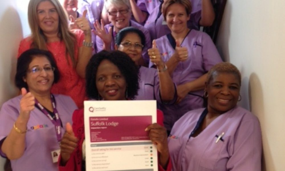 Suffolk Lodge staff celebrate Good CQC report